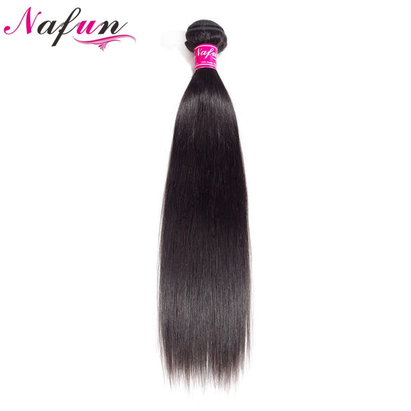 NAFUN Hair Straight Hair 1 Bundles Natural Color 100% Human Hair Extensions Peruvian Hair 8-26 Inch Weave Non Remy Free Shipping