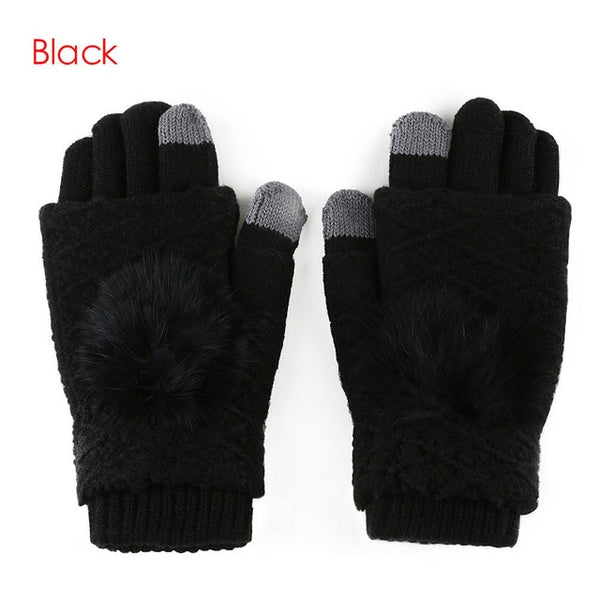 2017 New Detachable Dual Layer Winter Gloves Womens Warm Pompoms Fur Ball Fingerless Gloves Screen Touch Cashmere Mittens Knited
