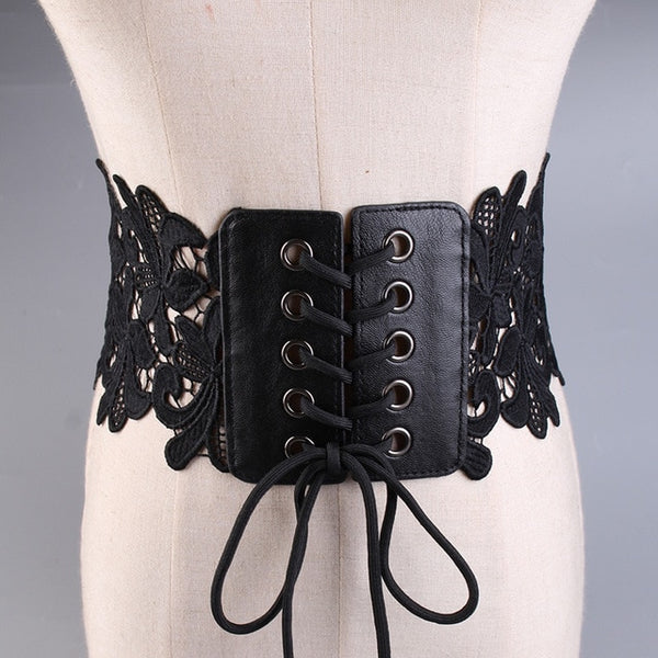 COWATHER women decorated belt fashion lace design belts for women wide female straps black white color newest female waistbands