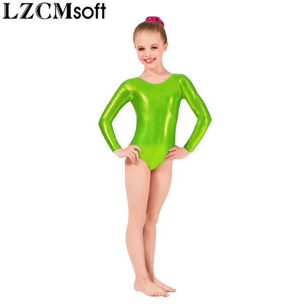 LZCMsoft Girls Long Sleeve Silver Leotards Shiny Metallic Gymnastics Leotards One Piece Kids Ballet Dance Performance Costumes