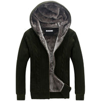 Mens Winter Warm Cardigan Outerwear New Arrival Men Flocked Coat Male Thick Warm Hooded Coats sweater European Style Fur Jacket
