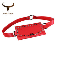 COWATHER women belt fashion pvc decorated bag design belts for women pu leather strap pin buckle waist belts new female strap
