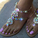 2018 Woman Sandals Women Shoes Rhinestones Chains Thong Gladiator Crystal Flat Heels Sandals Five Color Plus Size 46