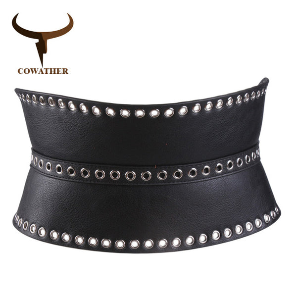COWATHER women belt fashion decorated belts for women vintage female cummerbunds new arrival wide metal buckle female waistband