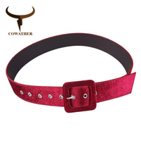 COWATHER belt for women velvet pu leather women belts fashion alloy buckle female straps leather waistbands for female vintage