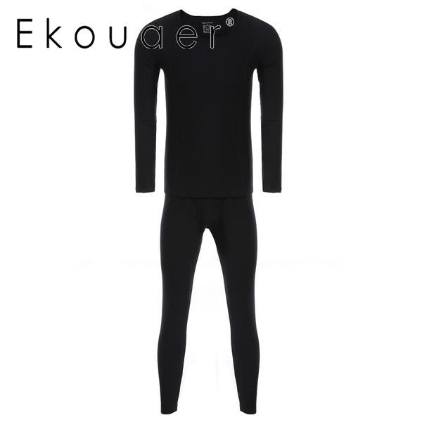 Ekouaer Mens Casual Pajamas Set O-Neck Long Sleeve Thermal Underwear Tops and Bottom Set Nightwear Suit Male Home Clothing