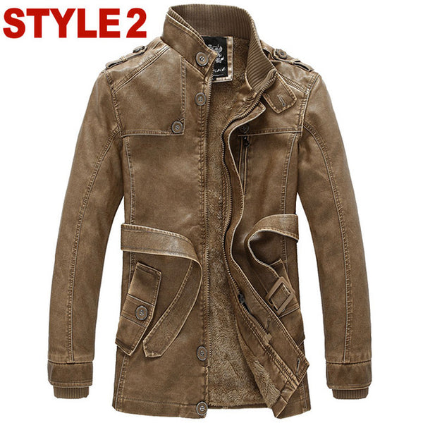 2018 New Rushed Fashion Motorcycle Jacket Men PU Leather Jackets Water Wash Vintage Thick Warm Winter Military Mens Trench Coat