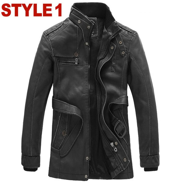 2018 winter fashion Warm Leather trench Coat male fur lined slim fit long Dust coat with belt men leather outerwear Asia S-XXXL