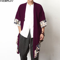 Chinese Style Floral Coat Cardigan Men Wide-Waisted Three Quarter Open Stitch Jackets S-5XL Loose Trench Hiphop INCERUN Clothing