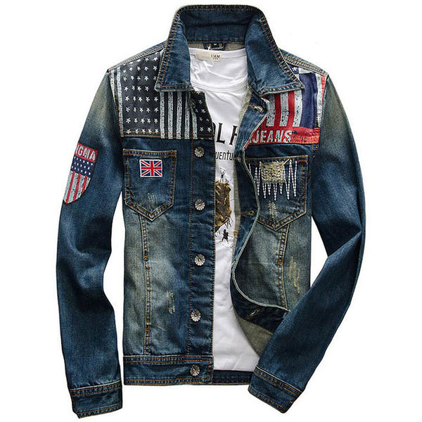 2018 New style Union Jack printed fashion Denim jackets for Men Cotton Jacket cowboy clothing male cowboy coat  S-XXL D174