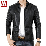 2018 Fall Top Quality Boutique Brand Leather Jacket Men Slim Fit Male Leather Jackets Casual Jackets For Men Chaqueta Hombre 3XL