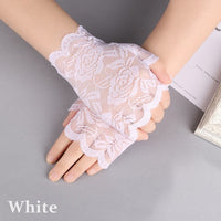 1Pair Hot Fashion Women Sexy Charm Lace Floral Sunscreen Fingerless Gloves Sexy Lady Girl Lace Party Costume Fingerless Glove