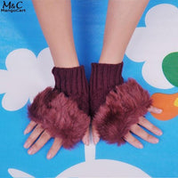 Casual Women Girls Solid Faux Fur Short Knitted Finger-less Gloves Fall Winter