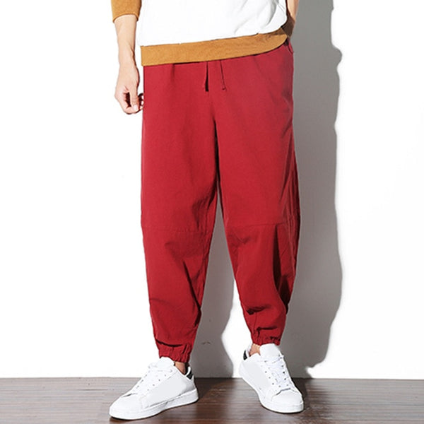 Chinese Style Linen Men Casual Wide Legs Pants Baggy Patchwork Drop Crotch Elastic Waist Joggers Harem Hiphop Trousers L-5XL
