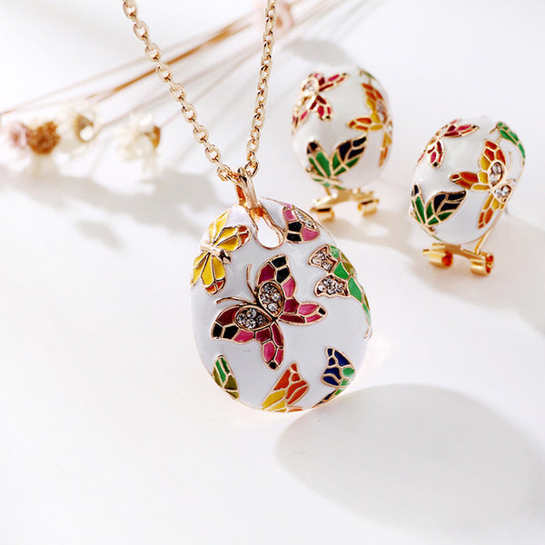 Vintage Ethnic Style Enamel Colorful Butterfly Crystal Jewelry Sets For Women Elegant Necklace Pendant Earrings Anniversary Gift