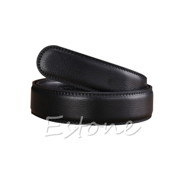 "Luxury Men""s Leather Automatic Ribbon Waist Strap Belt Without Buckle POP"