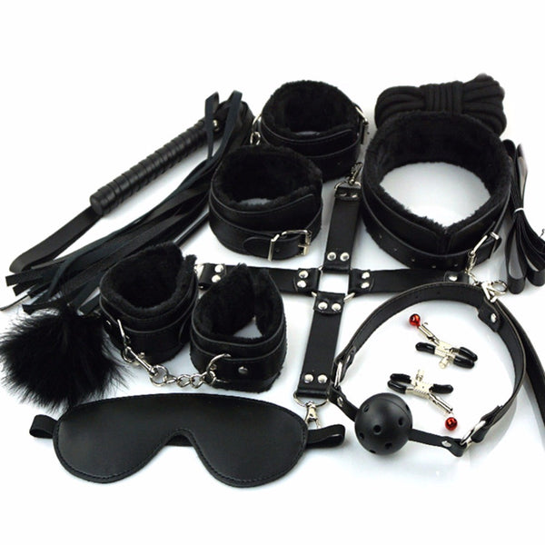 10 Pcs/set Sexy Lingerie PU Leather BDSM Sex Bondage Set Hand Cuffs Footcuff Whip Rope Blindfold Erotic Sex Toys For Couples