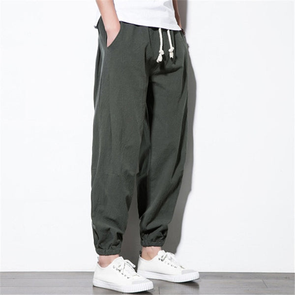 2018 Plus Size New Men Harem Pants Joggers Solid Hip-hop Fashion Trousers Men Drawstring Streetwear Cotton Linen Pantalon Hombre