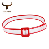 COWATHER PVC belts for women fashion wide decorate women belt solid transparent female straps newest female plastic waistband