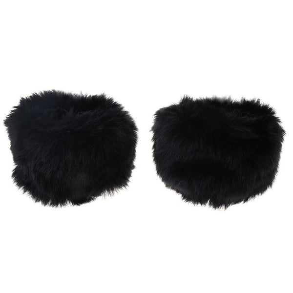 Fur Oversleeve Cuff Warm Winter Wrist Glove Faux Rabbit Elastic Women Wristband