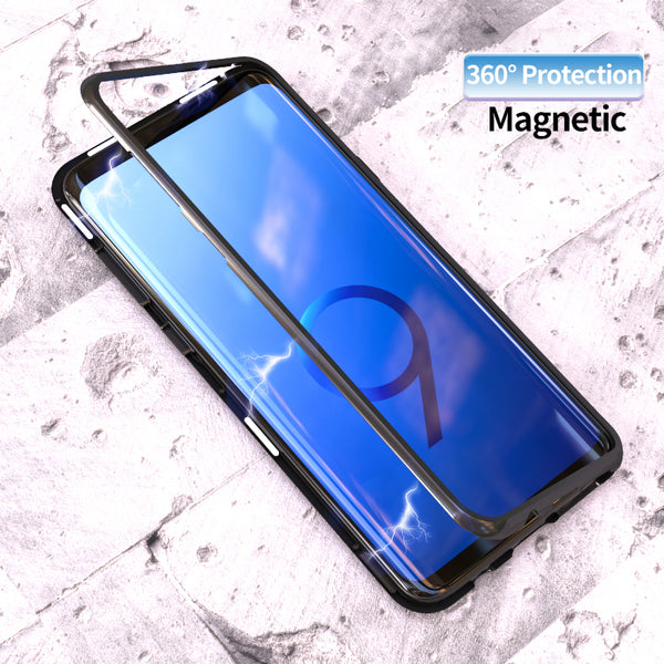 Metal Magnetic Adsorption Case For Samsung Galaxy S8 S9 Plus S7 Edge Tempered Glass Magnet Aluminum Case For Samsung Note 8 9