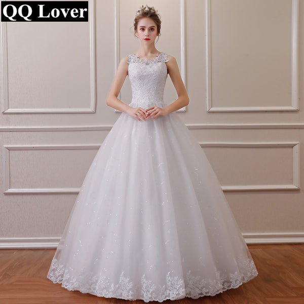 QQ Lover 2018 Lace Embroidered Beading Vintage Sweet Straps Wedding Dress Yarn Puff
