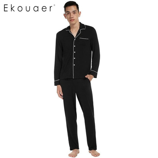Ekouaer Turn-down Long Sleeve Solid Mens Collar Loose Pajama Set