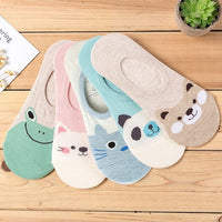 5 Pairs/lot Women Animal Cartoon Pattern Socks Candy Color Small Boat Sock Suit for Summer Breathable Casual Girls Funny Sock