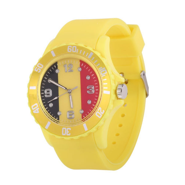 2018 Football watch Quartz Watches Belgian Flag Pattern Yellow Color Soft Silicone Strap Wristwatches for Women Men