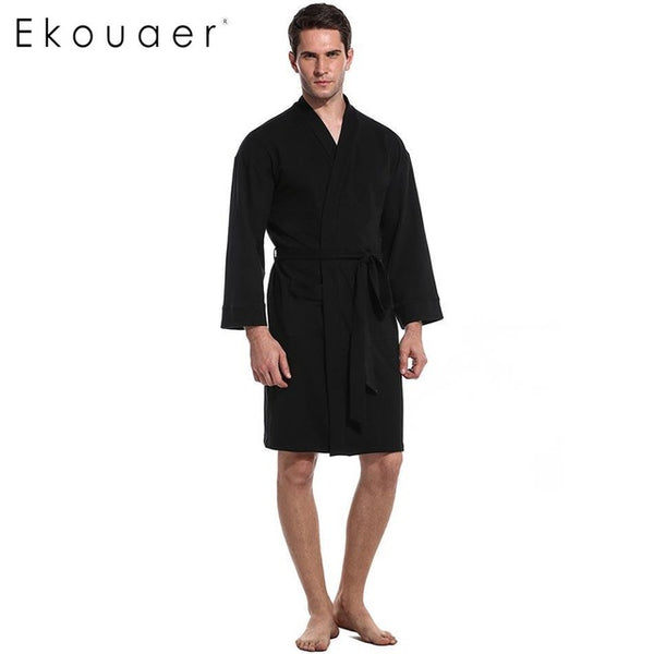 Ekouaer Sleeve Men V-Neck Long New Solid Nightwear Robe with Pockets and Belt