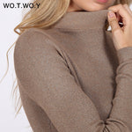 WOTWOY Shiny Lurex Turtleneck Sweater Women Pullover Knitted Slim 2018 Winter Cashmere Sweaters Womens Jumpers Basic Black Pink