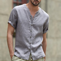 2018 Men Vintage Shirt Casual Button V-neck Short Sleeve Solid Shirts Men Cotton Linen Slim Fit Tops Breathable Camisa Masculina