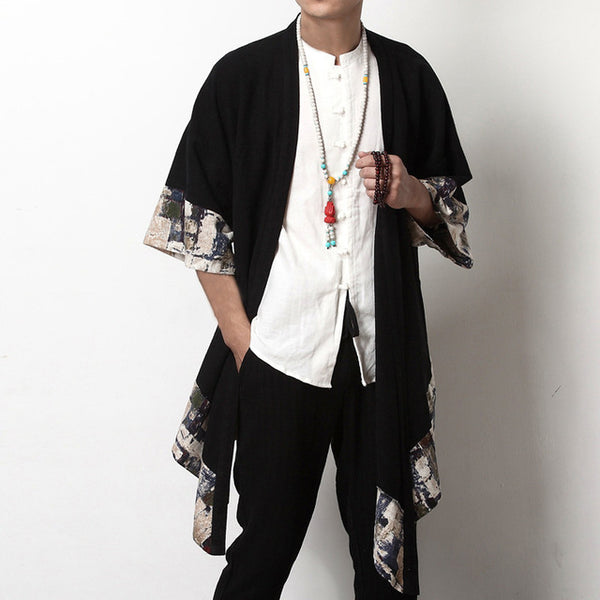 Chinese Style Floral Coat Cardigan Men Wide-Waisted Three Quarter Open Stitch Jackets Plus Size S-5XL Trench Hiphop INCERUN