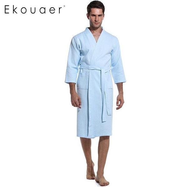 Ekouaer Men New Solid Three Quarter Sleeve Nightwear Robe with Pockets and Belt