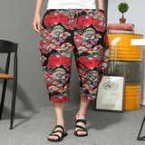 Cool Boho Retro Floral Wide Legs Pants Men Ankle-Length Elastic Waist Baggy Cross-pants Drop Crotch Harem Loose M-5XL Plus Size