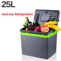 25L Car Home Portable Thermoelectric Fridge 12V/ 220V Cooler Box Warmer Dual Purpose High Capacity Travel Refrigerator 48-55W