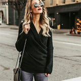 WOTWOY Sexy V Neck Cross Knitted Sweater Women Pullover Hollow Out 2018 Winter Cashmere Women Sweater Backless Streetwear Jumper