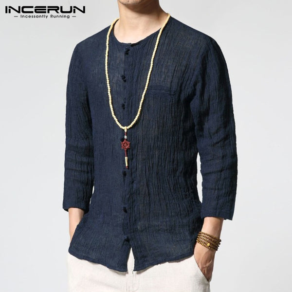 INCERUN Chinese Style Men's Shirt O-neck 3/4 Sleeve Solid Cotton Casual Shirts Thin Slim Fit Vintage Camisa Masculina S-3XL 2018