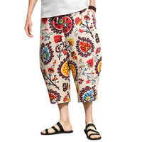 Hawaii M-5XL Men Casual Pants Baggy Cross-pants Wide Legs Loose Ankle-Length Harem Loose Plus Size Male Vacation Beach Clothing
