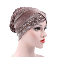 New Woman Hijabs Velvet Big Rhinestone Turban Head Cap Hat Beanie Ladies Hair Accessories Muslim Scarf Cap Hair Loss 12 Colors