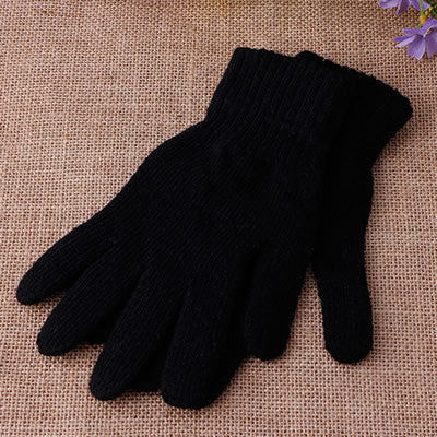Unisex Winter Knitted Solid Color blue Full Finger Gloves Soft Warm Mitten