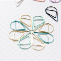 50pcs/lot Mini Kawaii Pink Gold Silver Metal Bookmarks Creative Water Drop Paper Clips School Office Supplies Cute Stationery