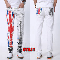 American Flag Men Jeans 2018 New Arrival Floral Print Straight Jean Stars and Stripes Pant USA Flag Fashion Cotton Pants for Man