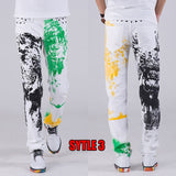 2018 fashion stylish cool mens pants jeans with print graffiti painted denim slim fit white jeans men hip hop rock street wear