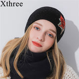 Xthree Women's Winter Hat Rabbit Fur Cashmere Blending Beanie Gorro Wool Knitted Hat The Female Hats For Girl