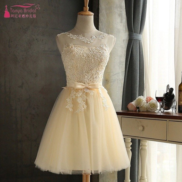 Champagne Tulle Homecoming Dresses With Bow Short graduation dresses special occasion dresses junior Cheap DQG310