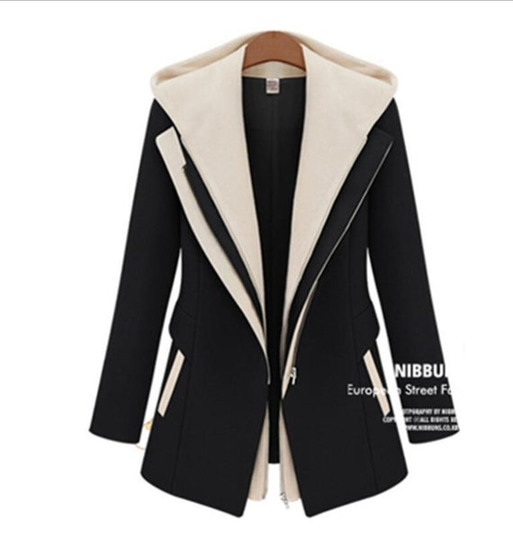 2018 autumn and winter women's new self-cultivation fake two zipper hooded jacket stitching small suit