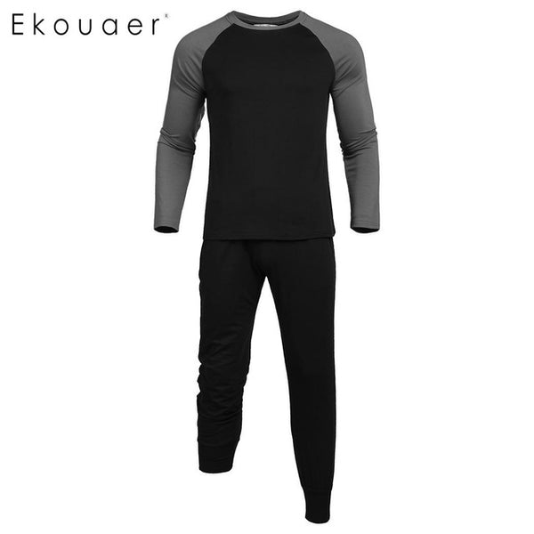 Ekouaer O-Neck Casual Man Long Sleeve Contrast Color Pockets Pajama Set
