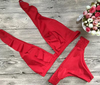 2018 New Lotus Leaf Pattern Red Color Bikini Set Swimsuit Bathing Suit Swimwear
