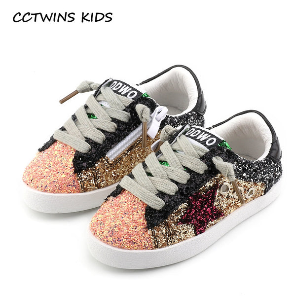 CCTWINS KIDS 2018 Toddler Baby Glittler Shoe Girl Star White Sneaker Boy Sport Shoe Kid Child Causal Trainer Sequin Flat F1550